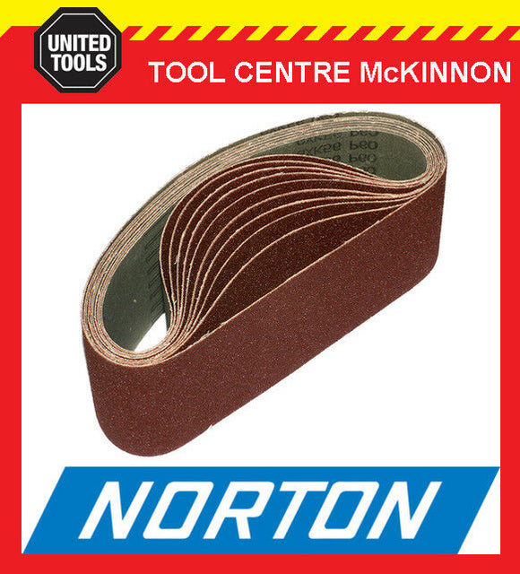 "10 x NORTON AUSTRALIAN MADE 3"" (75 x 610) SANDING BELTS - ALL GRITS"