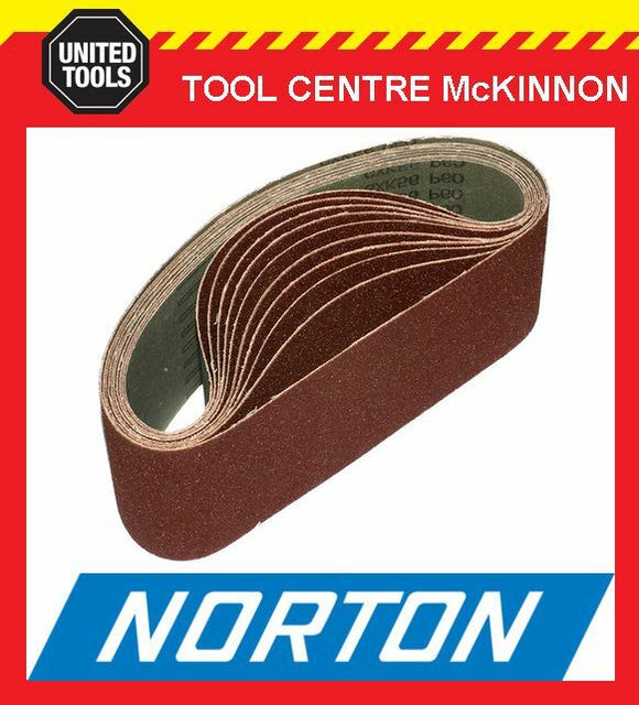"10 x NORTON #80 GRIT 4"" (100 x 610) SANDING BELT – SUIT MAKITA 9403 AND OTHERS"