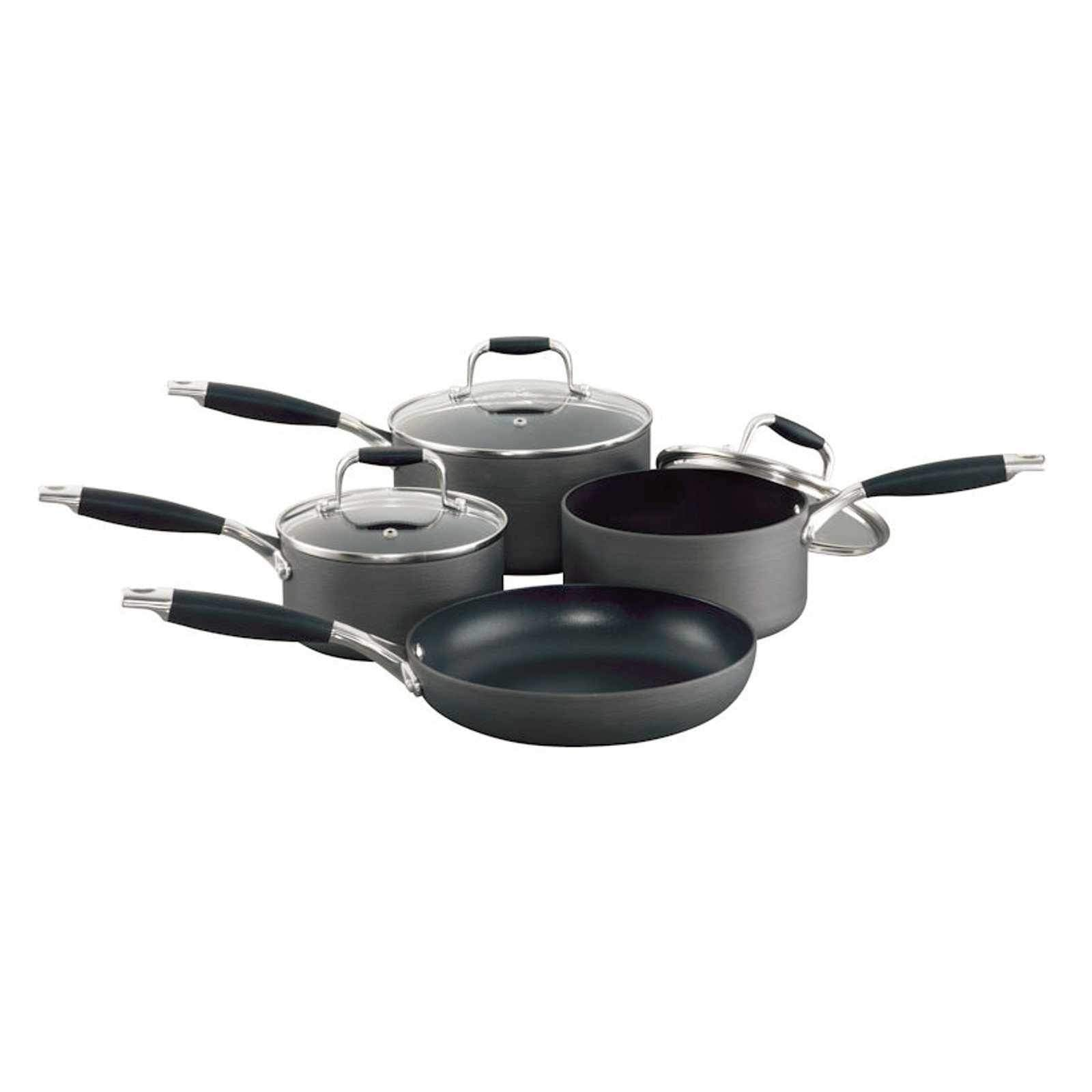 Blinq Elite 4pcs Hard Anodised Cookware Set with Glass Lids-Cookware Set-Chef's Quality Cookware