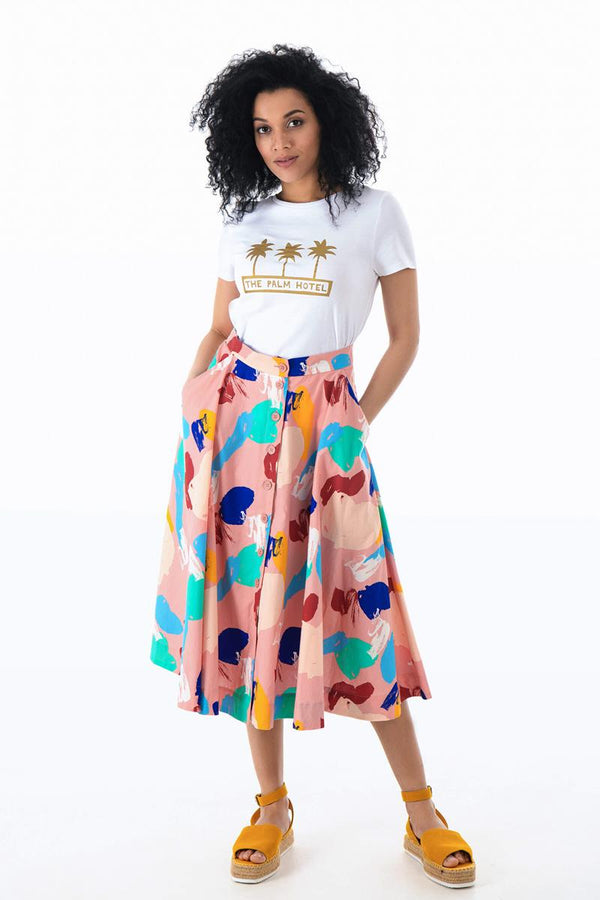 Emily and Fin Sandy Button Skirt Brushstroke Abstract