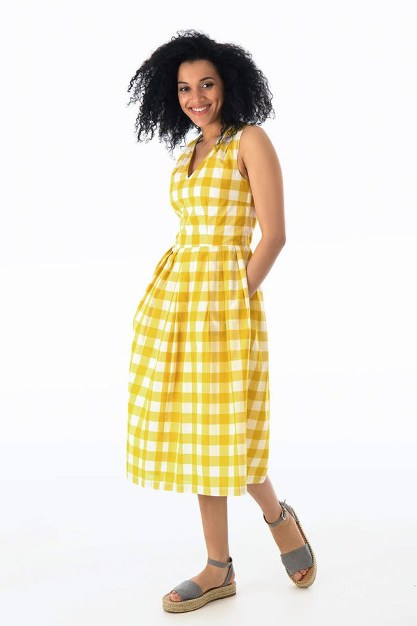 Emily and Fin Josie V Neck Midi Dress Yellow Plaid