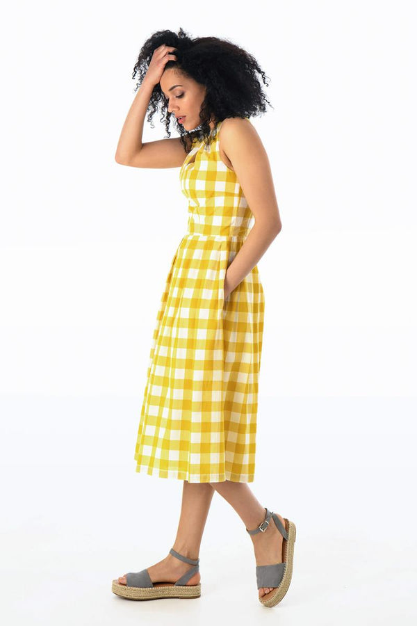 Emily and Fin Josie V Neck Midi Dress Yellow Plaid - Talis Collection