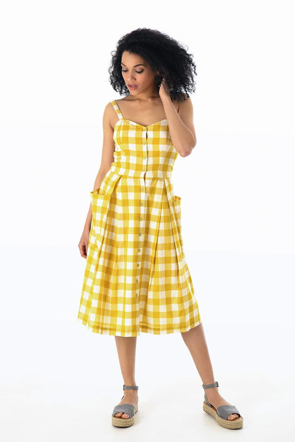 Emily and Fin Layla Sun Dress Yellow Plaid