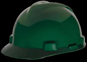 MSA Green V-Gard Class E, G Type I Polyethylene Standard Slotted Hard Cap With Staz-On Suspension