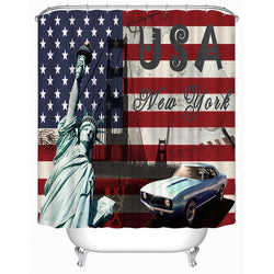72x72 -Inch Completely Polyester  Colormix Car Series Shower Curtains with 12 Rings