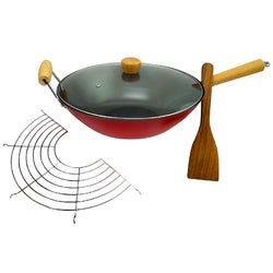 Gran Via Wok With Lid, Rack and Spatula in Red and Black