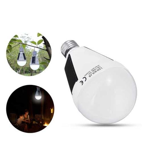 Solar Powered E27 12W White Portable Outdoor LED Emergency Light Bulb for Garden Camping AC85-265V