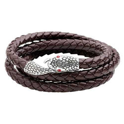 Men's Alloy Snake Head Multilayer Punk Leather Bracelet