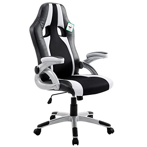 CTF High Back PU Leather & Fabric Racing Gaming Swivel Chair with Adjustable Armrests, White