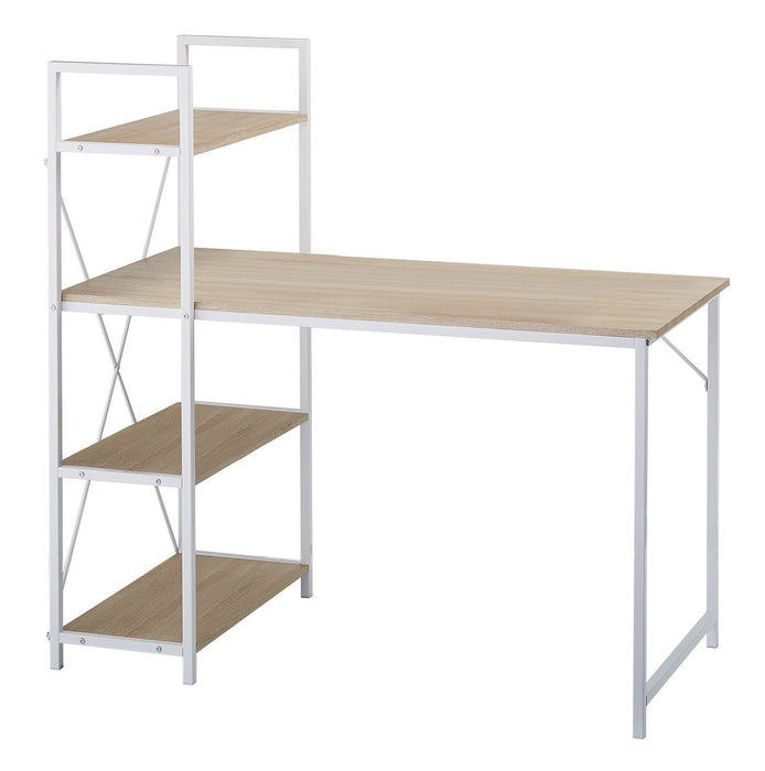4-Tier Shelves Computer Workstation Desk, Natural Colour