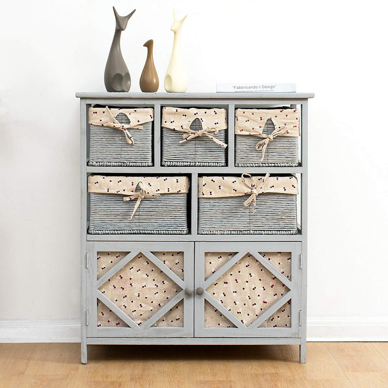 Grey Paulownia Solid Wood Sideboard Drawer Chest with Wicker Baskets