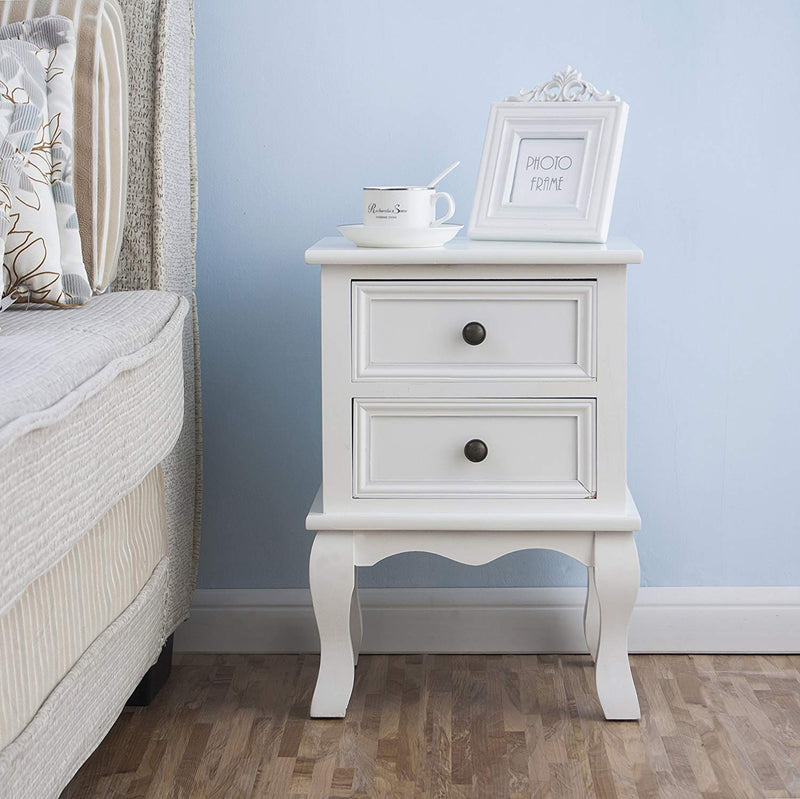 Wood Bedside Table 2-Drawer Cabinet, White