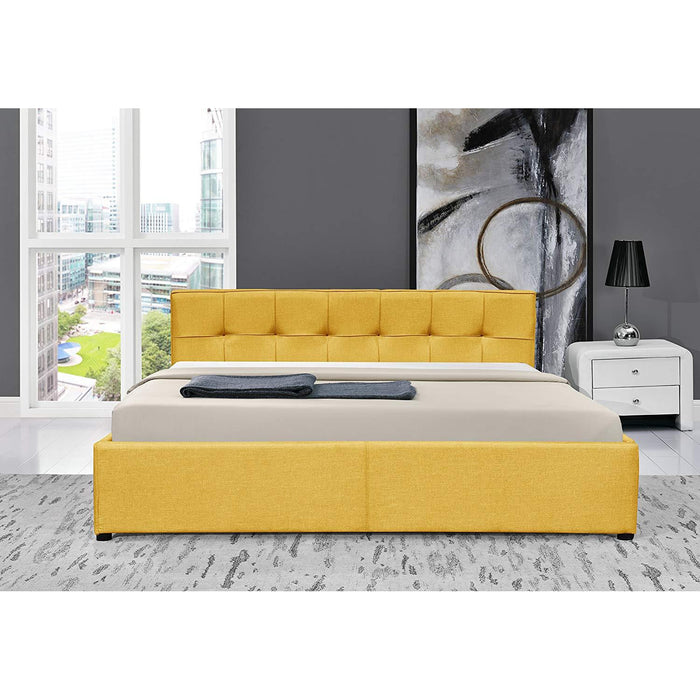 CORONA Fabric Ottoman Storage Bed Frame with Tufted Headboard, Yellow