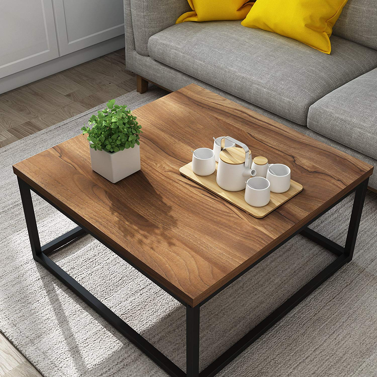 CLIVE Mid-Century Style Walnut Colour Coffee Table with Black Metal Frame from Cherry Free Furniture