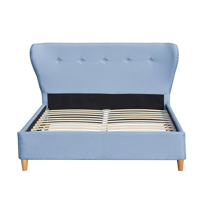 PEGASUS Mid-Century Linen Fabric Bed Frame with Curved Headboard & Solid Oak Legs, Light Blue