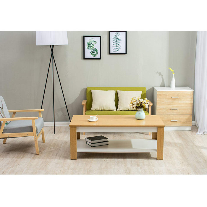 SIMBA Oak & White Colour Living Room Coffee Table/TV Stand Table 120 X 60 CM