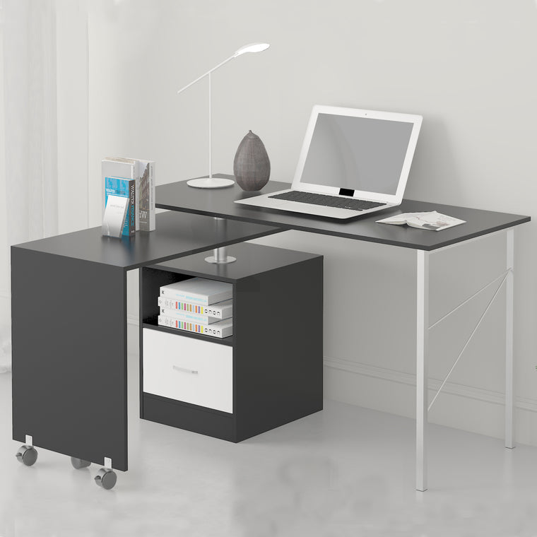 L-Shaped Extending Computer Workstation Corner Desk with Storage, Black