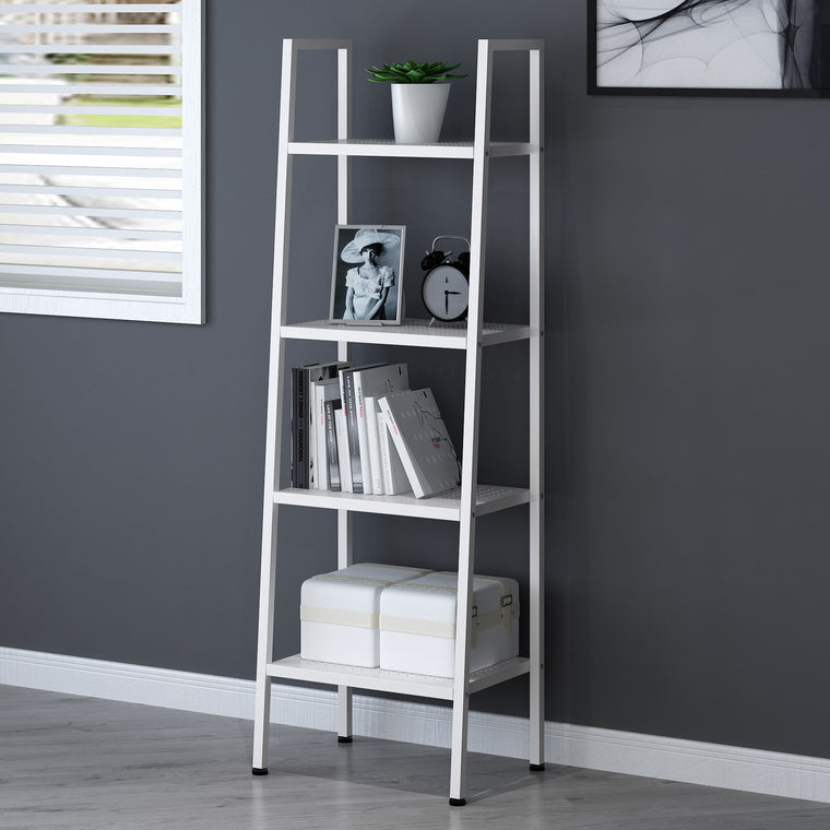 HUBA 4-Tier Shelving Unit Display Stand, White