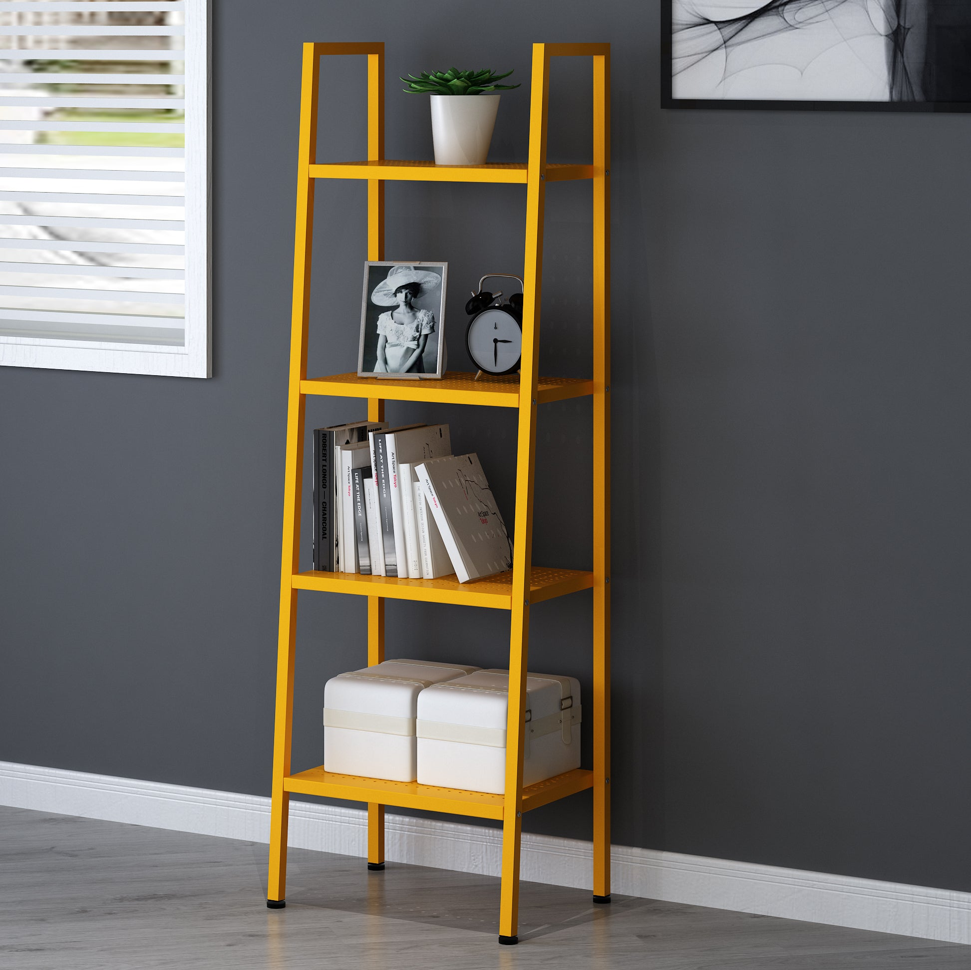 HUBA 4-Tier Shelving Unit Display Stand, Yellow