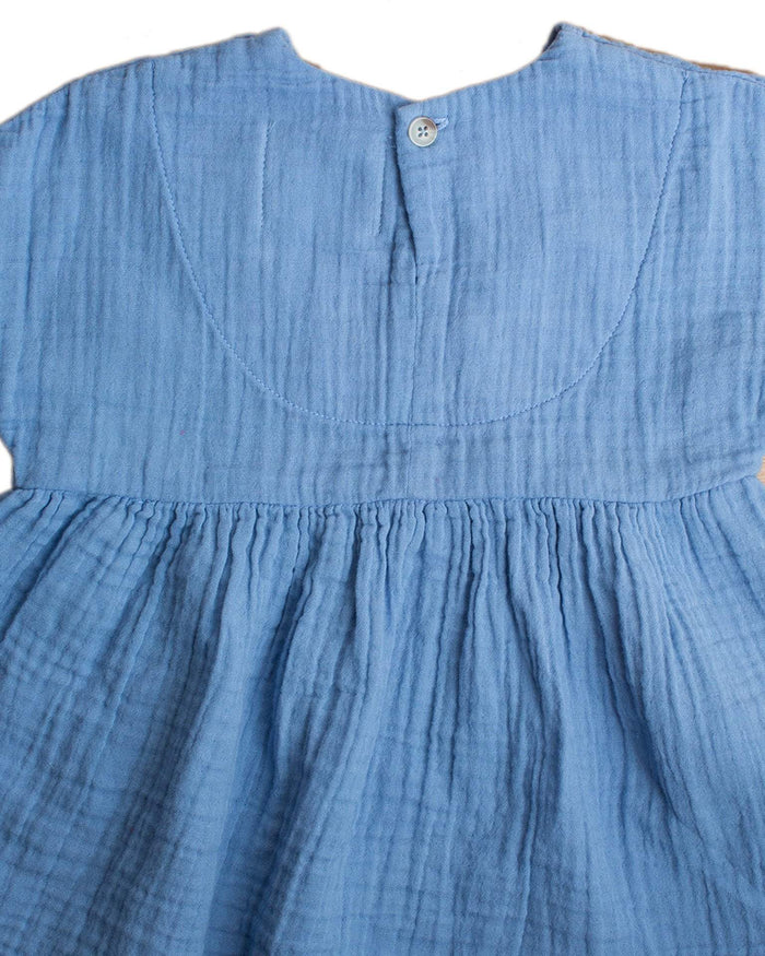 Little boy + girl baby girl 0-6 baby una dress in cornflower