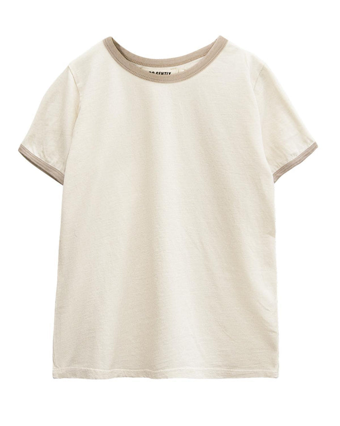 Little go gently nation boy 3-6 vintage tee in natural + sandstone