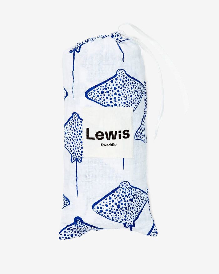 Little lewis baby accessories stingray swaddle in marine