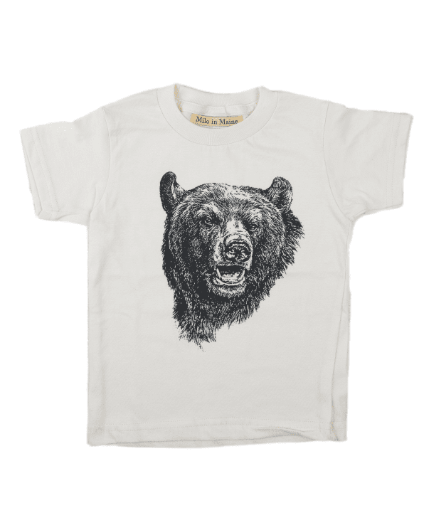Little milo in maine boy 4 Bear T-Shirt in Natural + Black