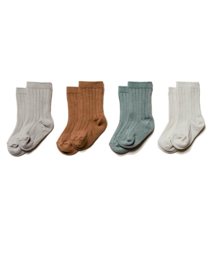 Little quincy mae accessories 0-6 baby socks 4 pack in ash, copper, sea + pebble