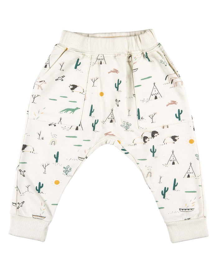 Little red caribou boy 2 native desert terry jogger in ivory