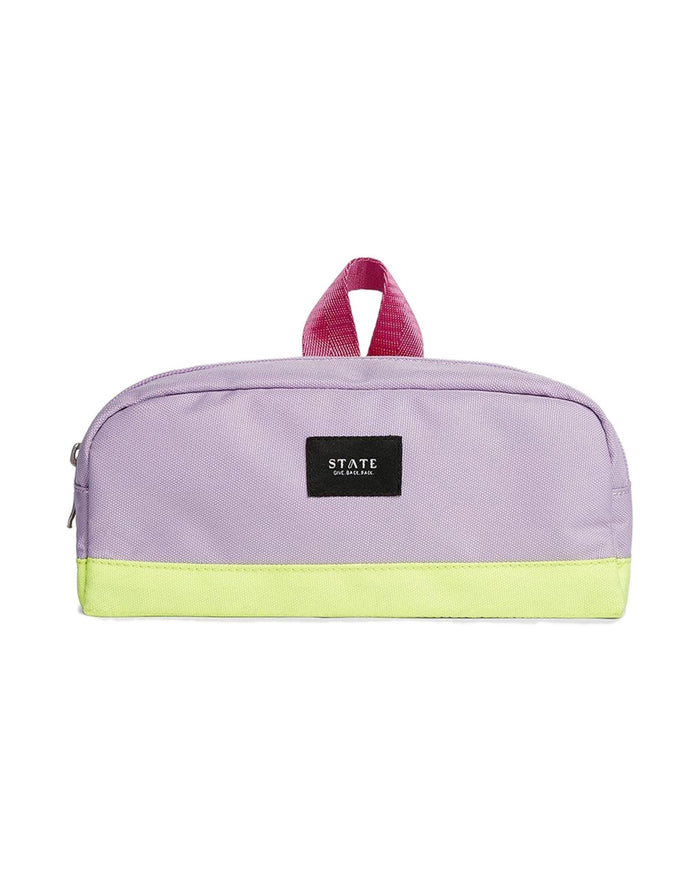 Little state bags accessories clinton pencil case in pink + lemon