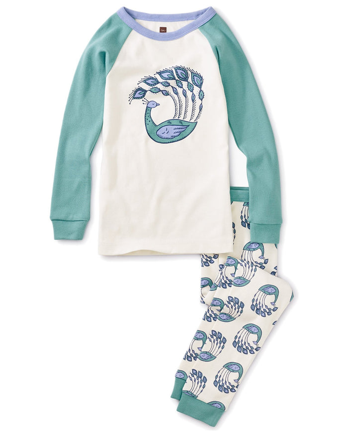 Little tea collection girl peacock plumes graphic pajamas