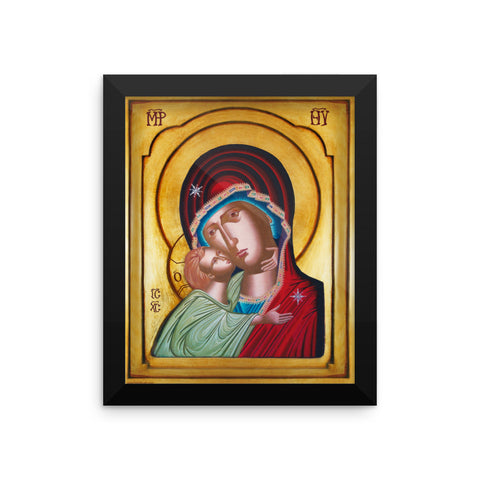 Our Lady of Tenderness - The Sweet Kissing - Framed poster 8X10 in - Chady Elias