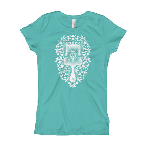 Choose Peace Love and Kindness - Brush - Tahiti Blue Girl's T-Shirt - Chady Elias