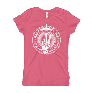 Choose Peace Love and Kindness Hot Pink Girl's T-Shirt - Chady Elias