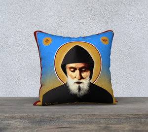 "Saint Charbel - Pillow Case 18""x18"" - Chady Elias"