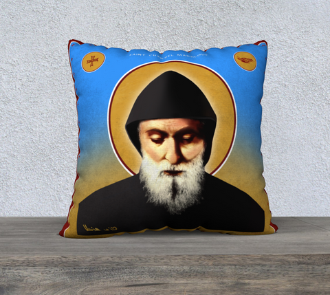 "Saint Charbel - Pillow Case 22"" x 22"" - Chady Elias"