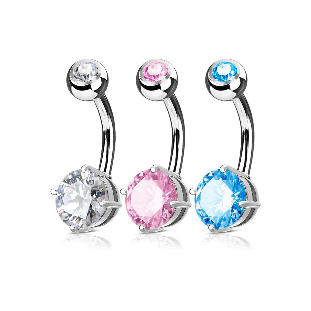 3 Pack CZ Prong Set Belly Rings