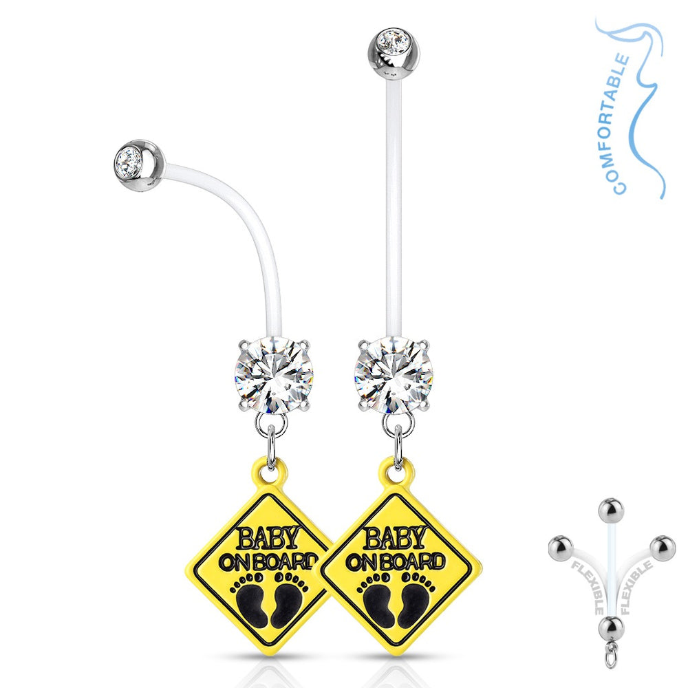Clear Baby On Board Pregnancy Belly Ring