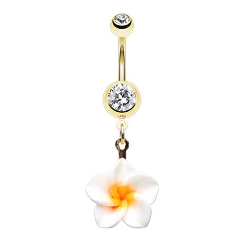 Golden Plumeria Belly Ring