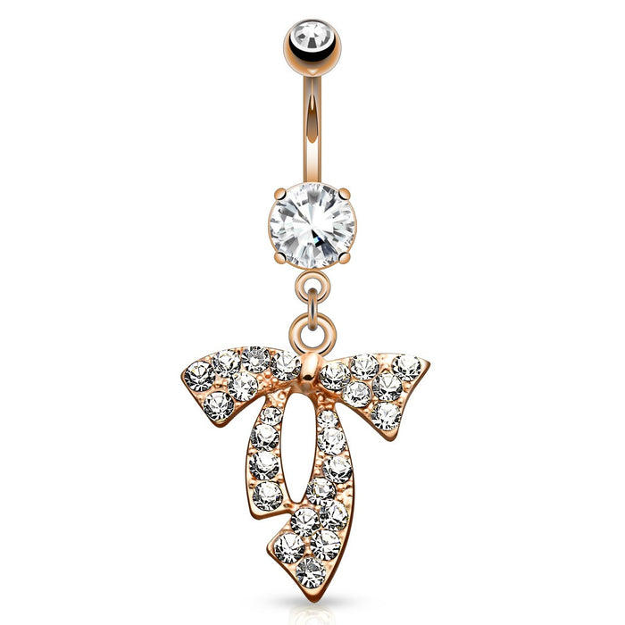 Rose Gold Clear Gem Paved Ribbon Belly Ring