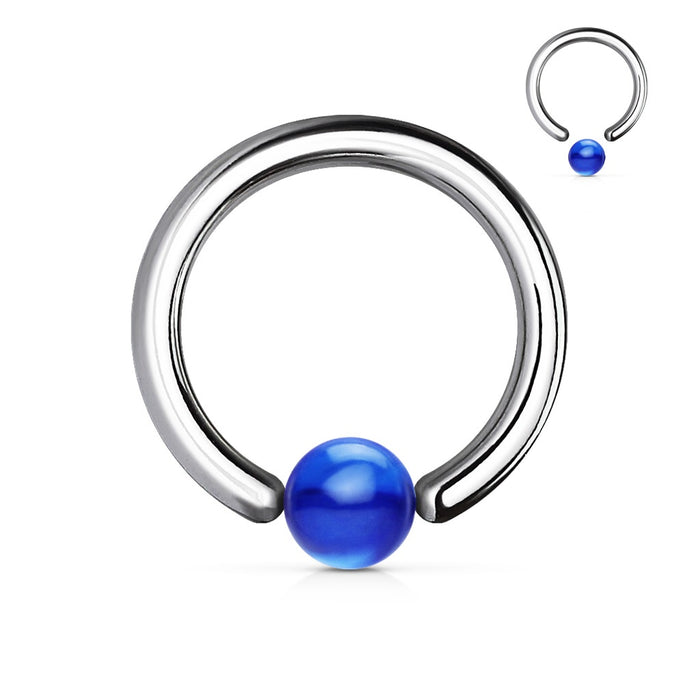14 GA Blue Acrylic Ball Captive Bead Ring