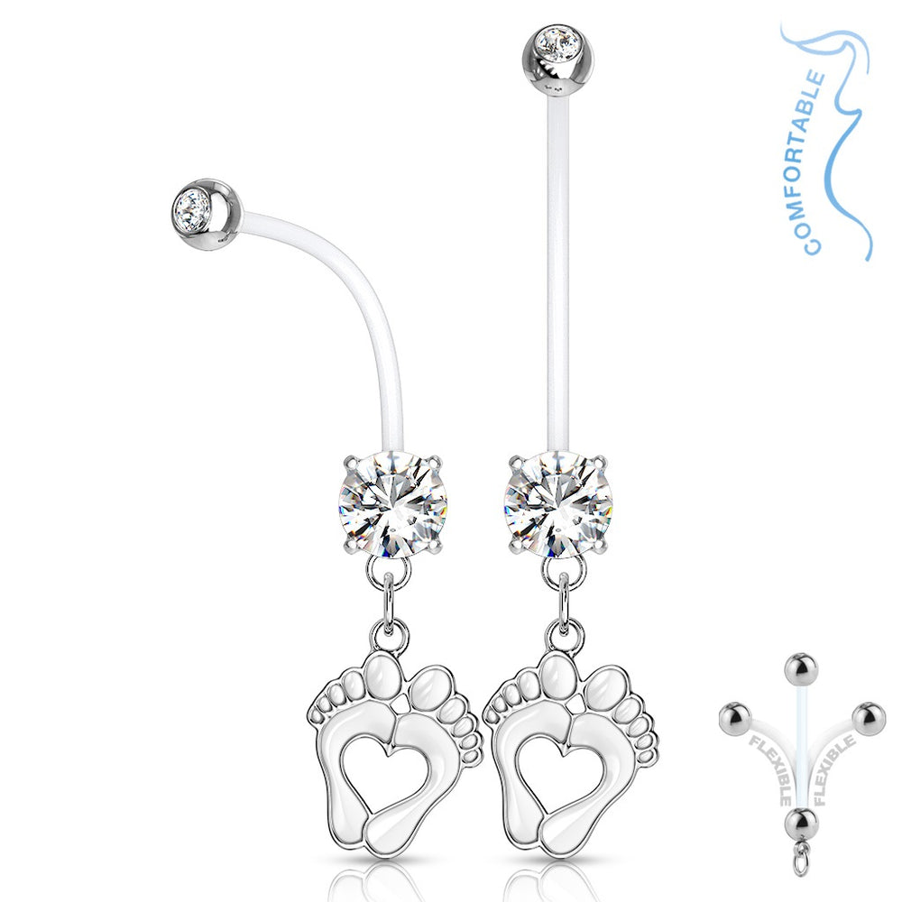 Clear Baby Feet Pregnancy Belly Ring