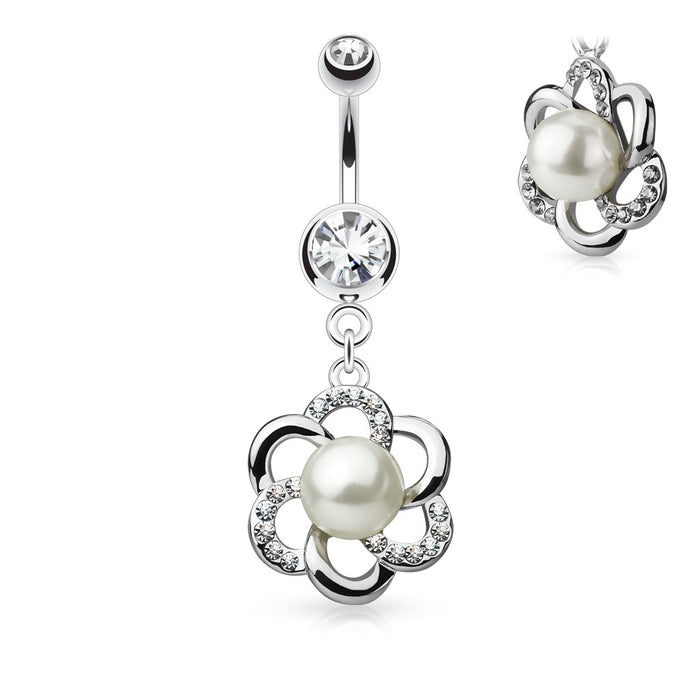 Pearl Centered Flower Belly Ring