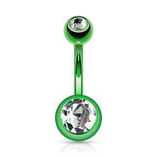 Green Double Gem Titanium Belly Ring