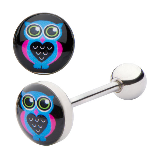 Owl Tongue Ring - Blue