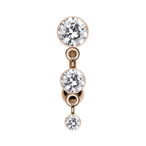 Rose Gold Triple Crystal Reverse Belly Ring