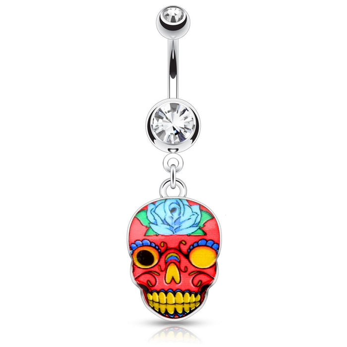 Pink Sugar Skull Belly Ring