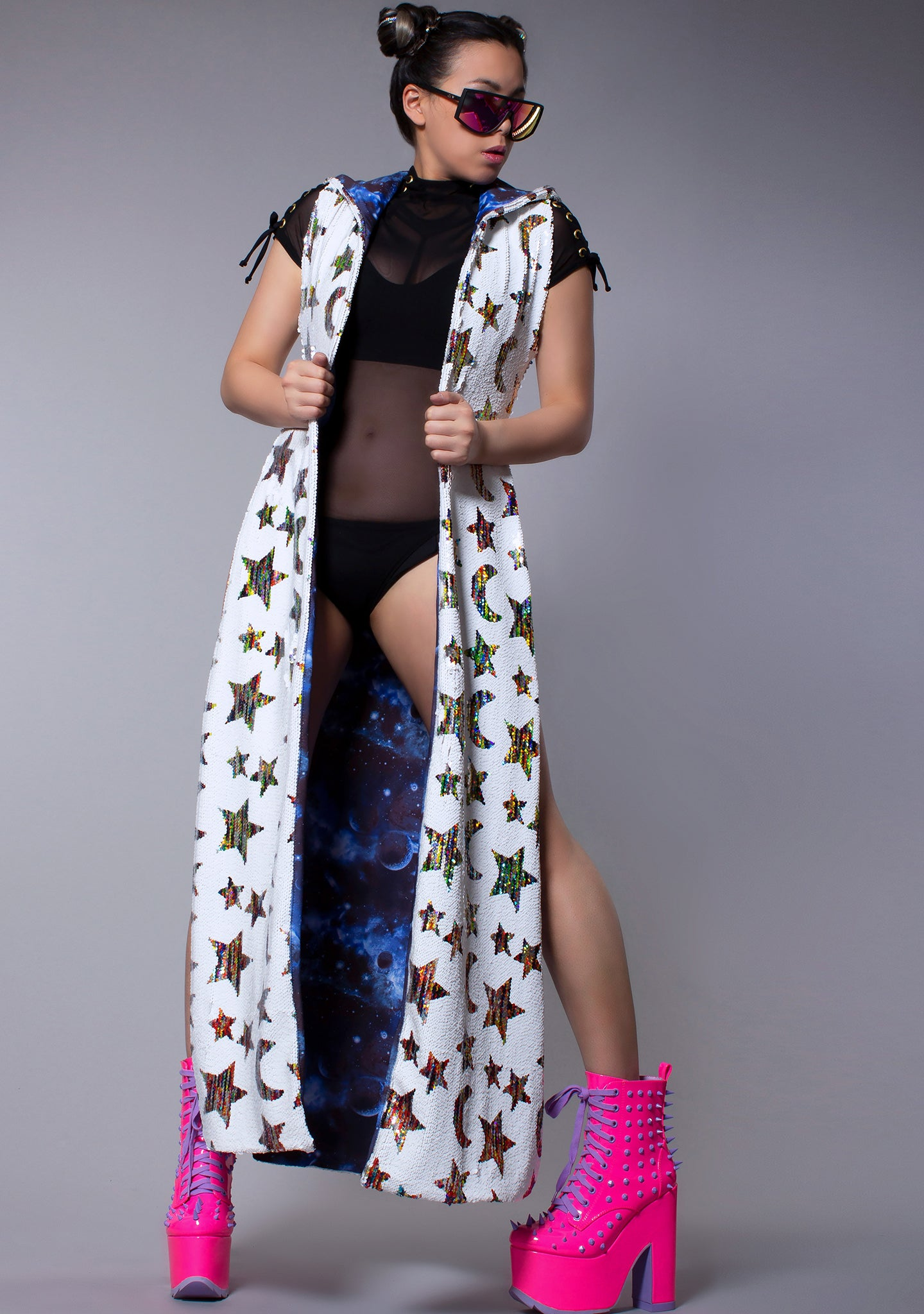Stargazer Sequin Duster in White/Multi