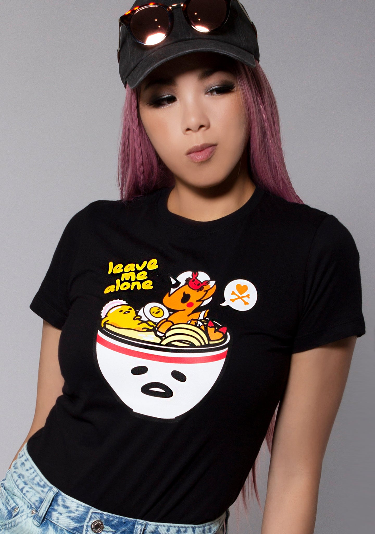 X Gudetama Leave Me Alone Tee in Black