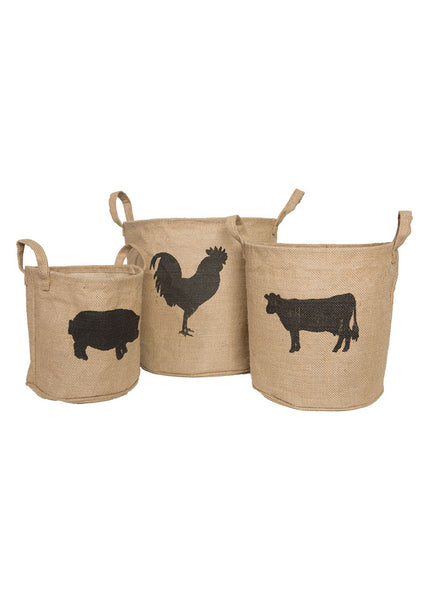 Farmhouse Storage Baskets, Set of 3